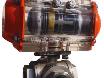 气动三通球阀  T型气动三通阀 不锈钢(Q671XP-10)