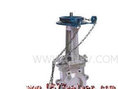 PZL73H刀形闸阀-链轮对夹式刀形闸阀(PZL73H-X)