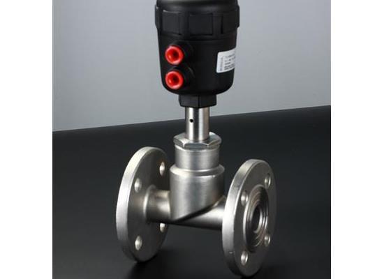 供应DN25不锈钢气控法兰式角座阀