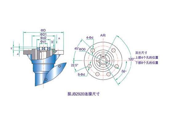 QDX3电动型阀门蜗轮箱连接外形尺寸