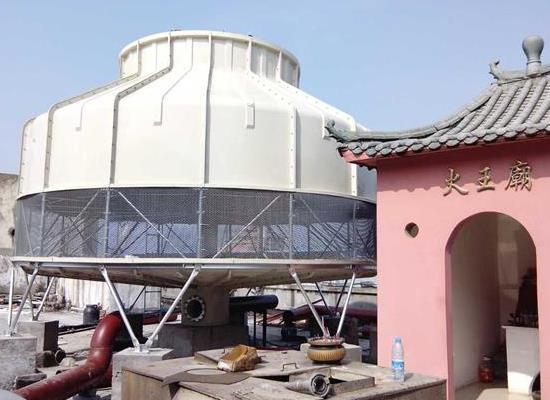 热水循环降温用100T逆流式圆形玻璃钢冷却塔